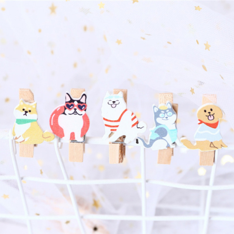 10Pcs/lots Summer Puppy Wood Clip Cartoon  Photo Paper Postcard Craft DIY Decoration Clips Office Binding Supplies Stationery