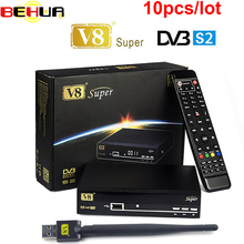 10pcs V8 Super DVB-S2 Satellite TV Receiver With USB Wifi Support PowerVu Biss Key clines Newcamd Youtube Youporn Set Top Box