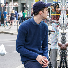 VIISHOW Brand Sweater Men Long Pullover Pull Homme Knitted Sweater Men Slim Fit Royal Blue Sweater for Men Clothing ZC07763