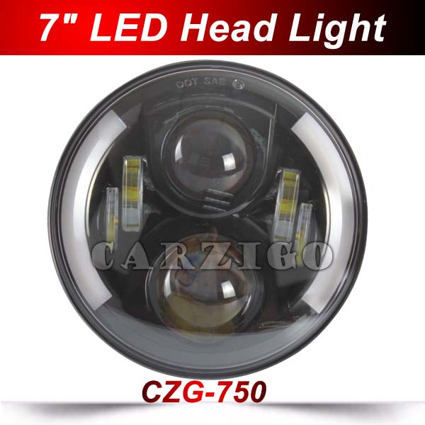 7 inch Round 50W 7 led Headlight H4 led Head Lamp For Harley motorcycle for Jeep Wrangler 4x4 with white+Amber halo Hi-Low Beam 7 inch headlight h4 motorcycle round led headlamp daymaker hi low beam head light bulb drl for harley jeep wrangler