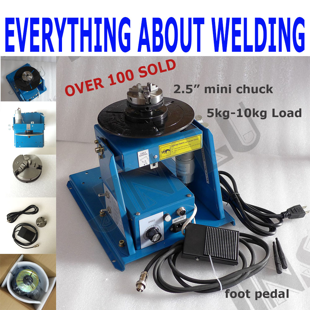 220V BY-10 Mini Welding Positioner Turntable 3 Jaw Lathe Chuck K01-63 M14 Pipe Welding Table Semi-automatic Welding