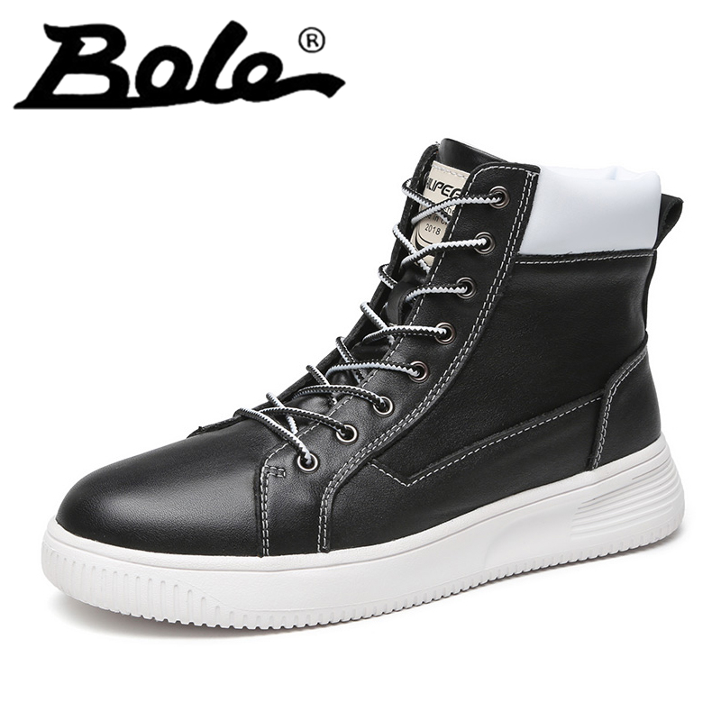 Men Martin Boots High Top Lace Up Round Toe Genuine Leather Shoes Sewing Boots New Fashion Cotton Shoes Boots with Fur Warm popular men martin boots winter with fur flat high top hot round toe lace up boots hard wearing warm 2018 cotton boots for male