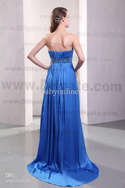 2013 Sexy Strapless Chiffon Floor Length Beaded Belt Blue Bridesmaid Dresses LF17524