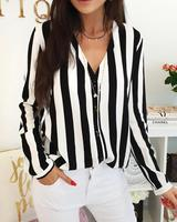 2019 Stripes Button Up Long Sleeve Blouse Fashion Summer womens tops and blouses Casual Striped V Neck Full