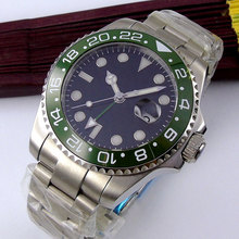 цена 43mm Bliger Black Sterile Dial no logo GMT Date Sapphire Glass Luminous ceramic bezel Deployment Automatic Movement men's Watch онлайн в 2017 году