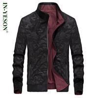 New Stand Collar Camouflage Jacket Men Brand IN-YESON Autumn Spring Reversible Jacket Tactical Army Windproof Trench Coat Men