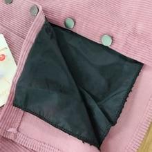 2017 Spring Harajuku Office Lady School Women's Short Skirt Denim Style Button A-line Corduroy High Waist Pocket Mini Skirt