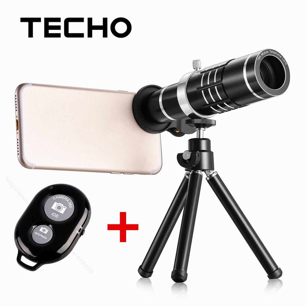 bilder für TECHO Universal Clip Teleskop 18X Zoom Optische Telefon Objektiv Mit Stativ und Bluetooth Fernbedienung Für iPhone Samsung Handy