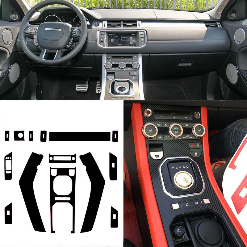 Car-Styling 3D Carbon Fiber Car Interior Center Console Color Change Molding Sticker Decals For Land Rover Range Rover Evoque newest for land rover range rover evoque abs center console gear panel chrome decorative cover trim car styling 2012 2017 page 7