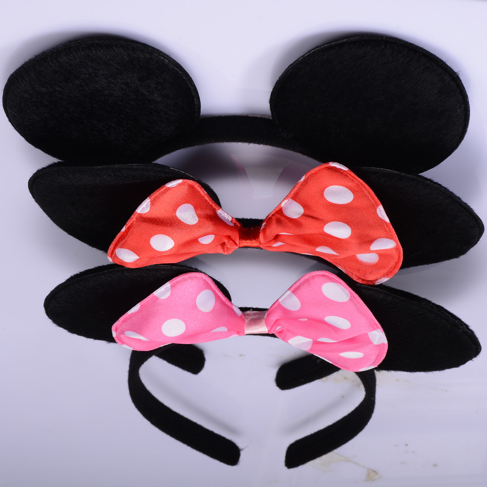 12pcs Minnie Mouse Ears Headband Pink Bows-Black-Polka Dot Party Favors Red