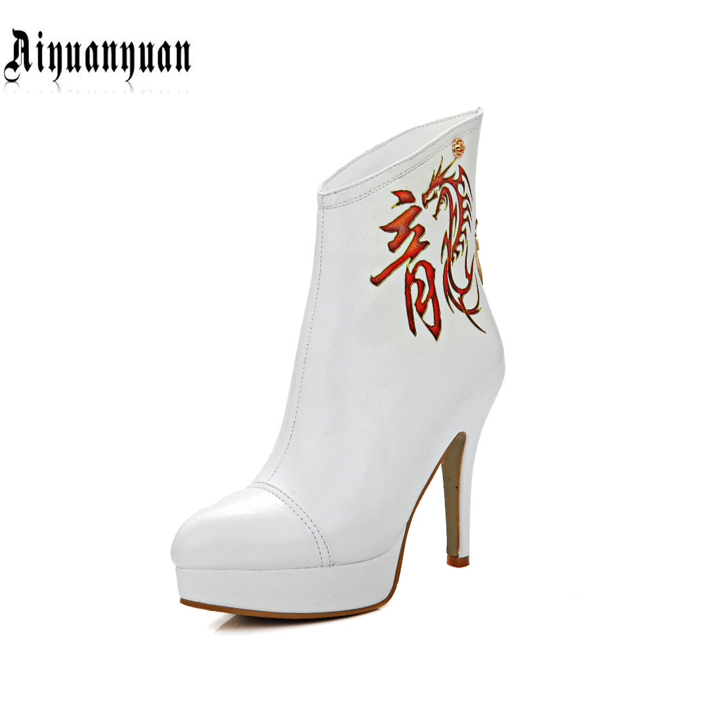 ФОТО 2017 plus European size to 40 41 42 43 44 45 46 China Style hot sale fashion women PU ankle boots most countries FREE SHIPPING