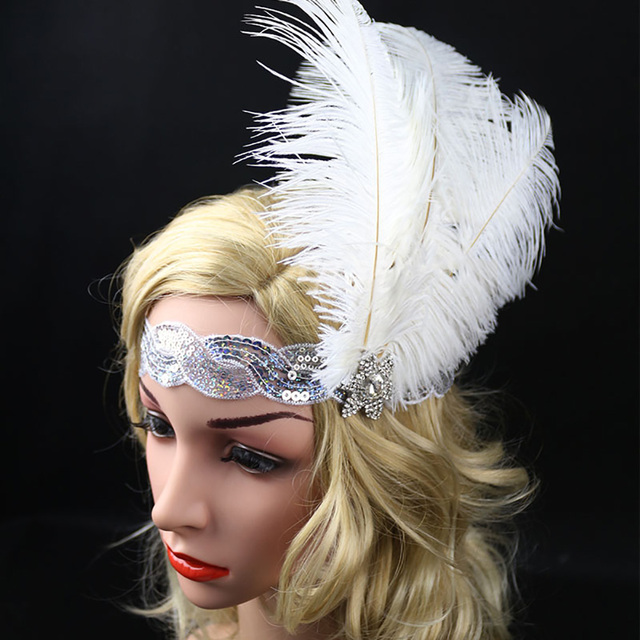 1920s Flapper Headband Silver White The Great Gatsby Costume Accessories  Deluxe Vintage Feather Bridal Headpiece New Year Gift 497846611b6