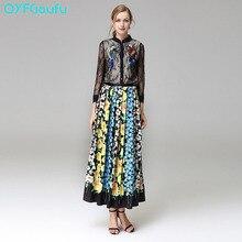Runway Dresses 2017 Women Two Piece Set Black Tulle Sequins Tops Blouse Shirt + Flower Floral Print Bohemian Long Maxi Skirts
