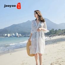 Вышитые шаль с бахромой тонкое пальто Летний пляж, отпуск вне пляжная Солнцезащитная одежда для женщин длинный кружевной кардиган jooyoo