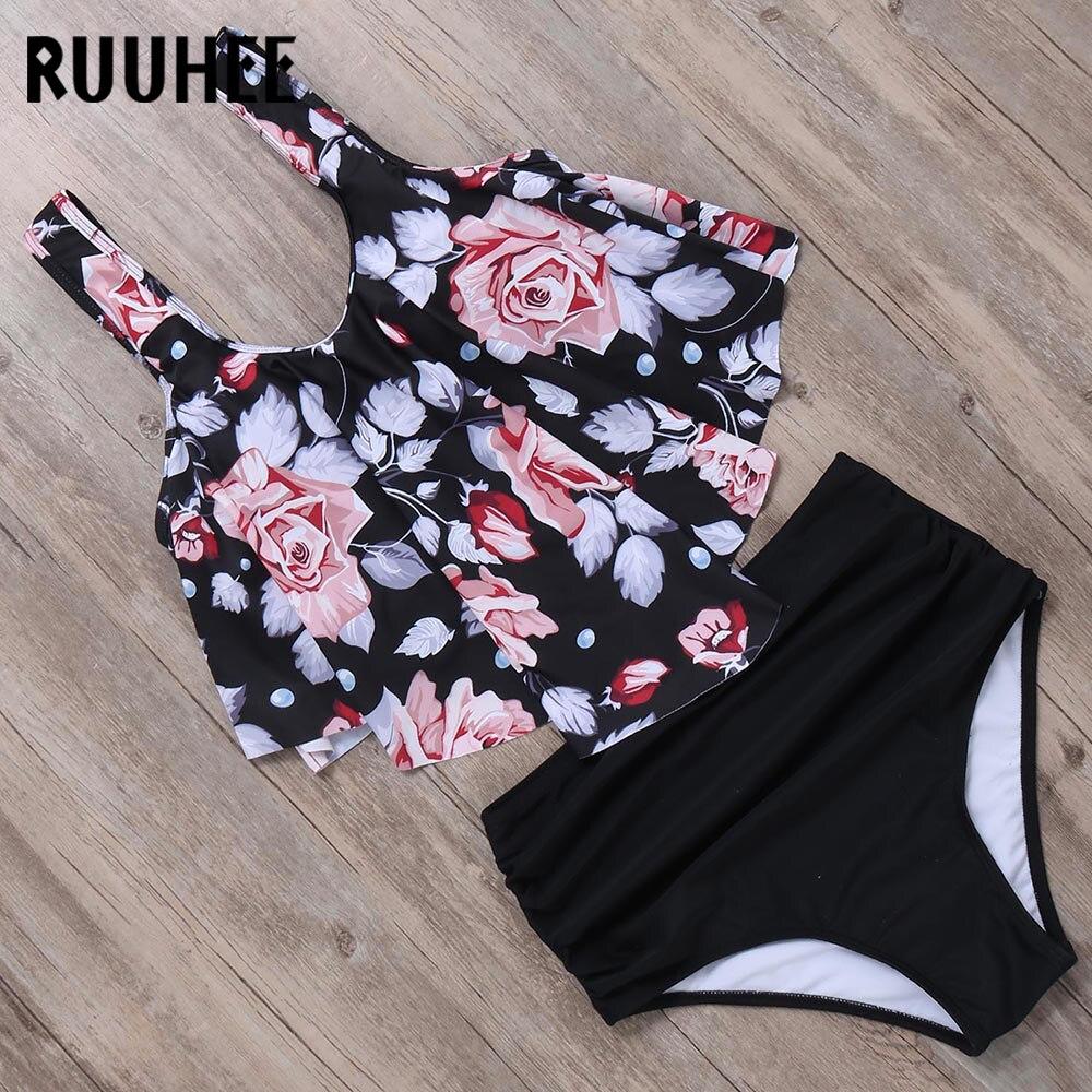 RUUHEE, бикини, 2019, купальник, для женщин, высокая талия, танкини, бикини, набор, купальный костюм с пуш-ап, для женщин, пляжная одежда, плюс размер...