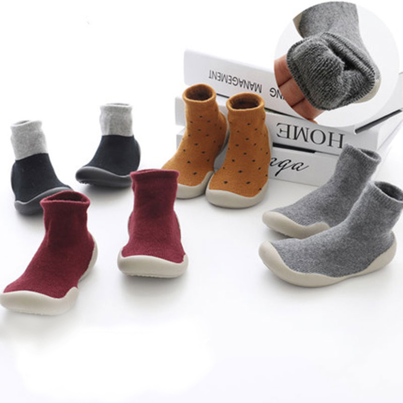 KiDaDndy Baby Solid Soft Rubber Sole Warm Cotton Toddler Shoes Girls Boys Winter Floor Sock Shoes For 10-24 Months SO500