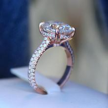 Four Claw Oval Cubic Zircon wedding Rings for Woman Rose Gold Color Charm Female Party Finger Jewelry girl Gift Dropshipping