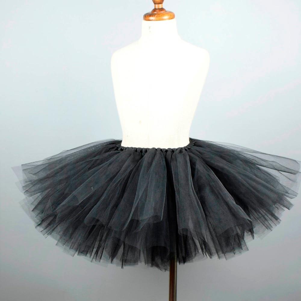 Solid Black Fluffy Tulle Tutu Skirt For Girls Baby Party Costume Kids Dance Black Tutus Costume Pettiskirt Newborn-12Y