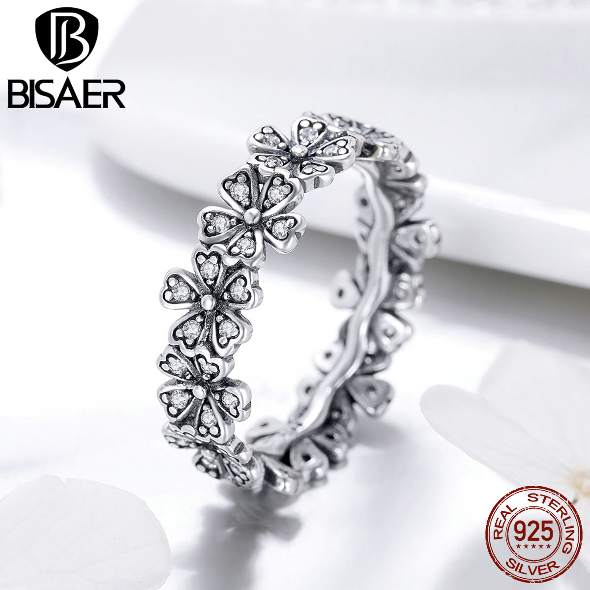 BISAER <font><b>Real</b></font> <font><b>925</b></font> Sterling Silver Romantic Daisy Flower Wedding <font><b>Rings</b></font> <font><b>for</b></font> <font><b>Women</b></font> Fashion Finger <font><b>Ring</b></font> Engagement Jewelry ECR397 image