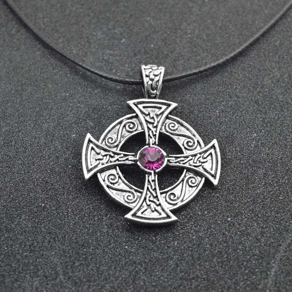 QIMING cyrkon srebrny stary naszyjnik kobiet słońce słoneczny krzyż najstarszych krzyż wisiorek naszyjnik mężczyzn biżuteria Bijoux Femme
