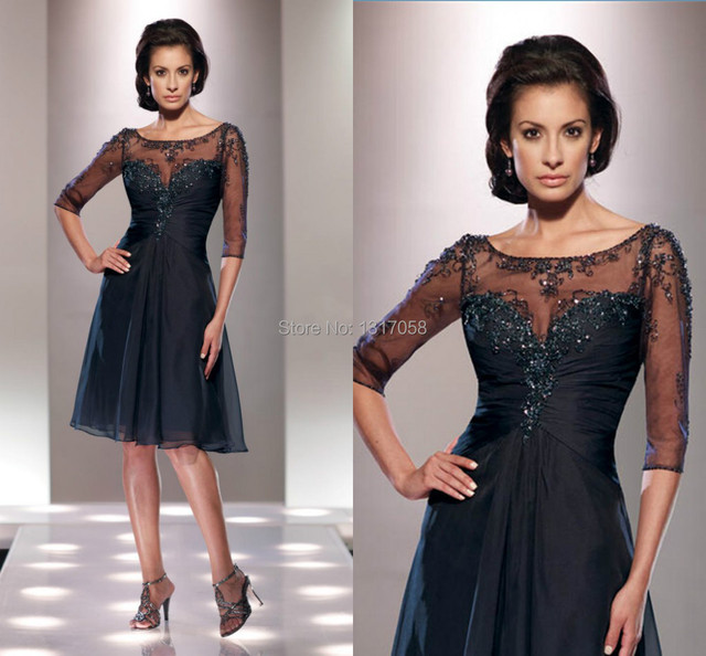 Modest Mother Of The Bride Dresses 2014 With Sleeves Knee Length