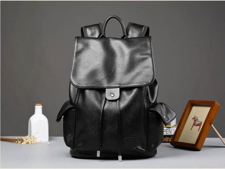 Super PU leather Men Male Backpack College Student School Backpack for Teenagers Vintage Casual Travel Daypack with flip 2