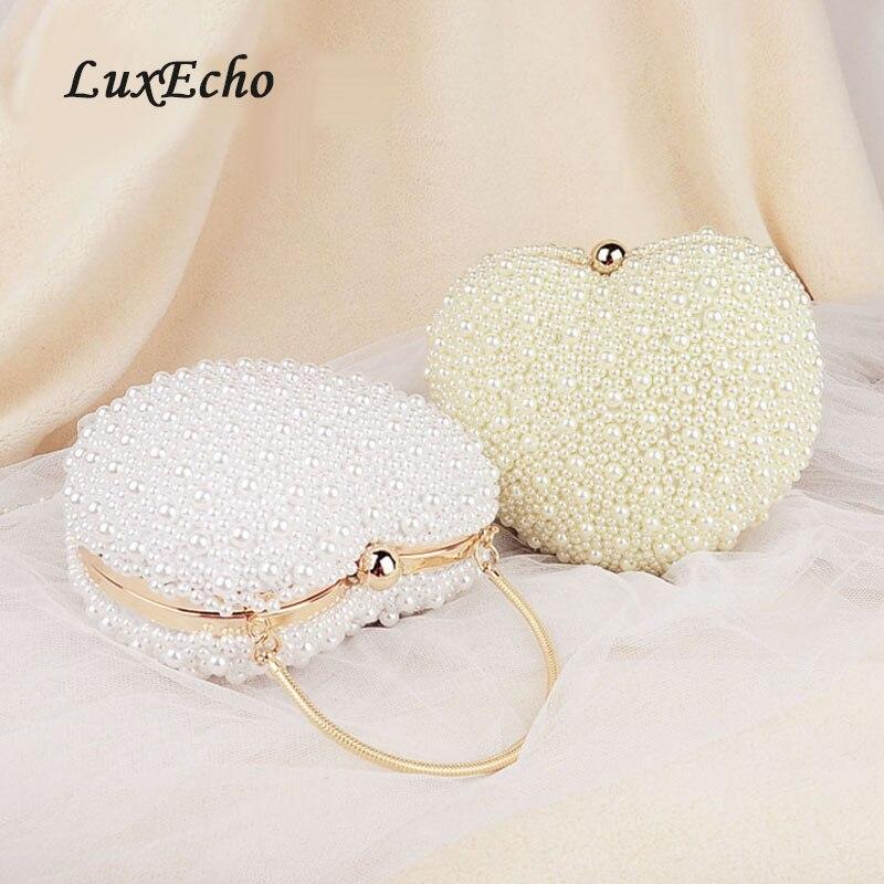 Luxecho blanc/ivoire perle sac femmes sacs à main sac de soirée jour embrayage petit sac à main mariée mariage sac de fête avec poignée