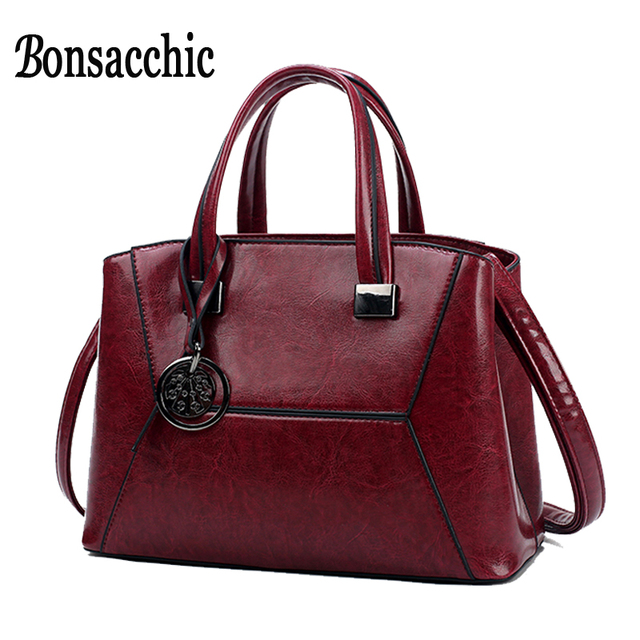 a36f3e3d745 Cheap Bonsacchic Red Women Leather Bags Handbags Luxury Handbags Women Bags  Designer Tote Bags for Women