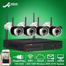 ANRAN Подключи и Играй 4CH Беспроводной Системы Безопасности NVR Комплект 1 ТБ HDD P2P 720 P HD Открытый ИК Ночного Видения WI-FI Ip-видеонаблюдения камера