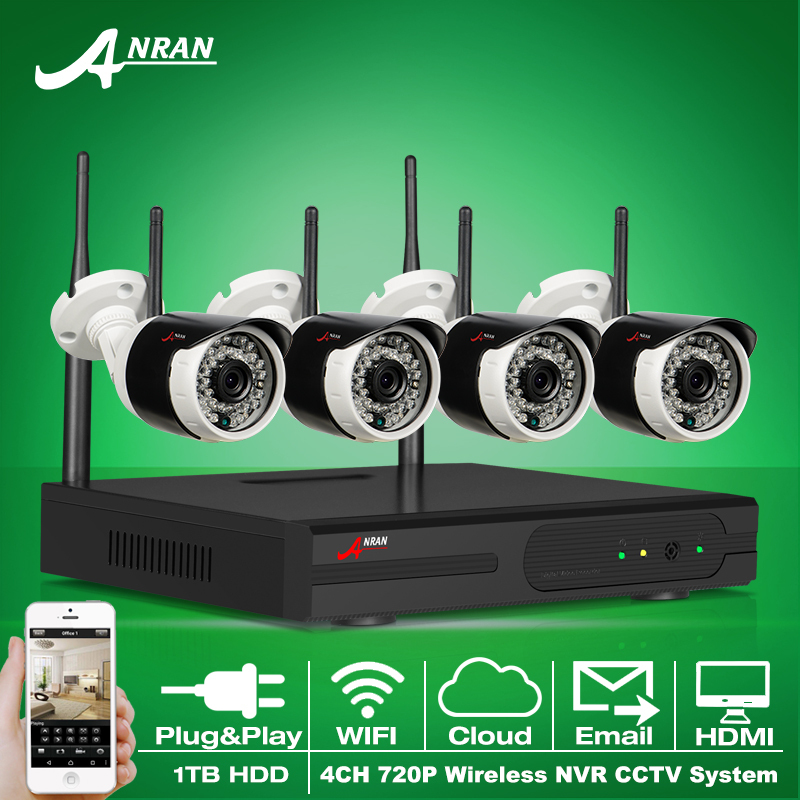 ANRAN Plug and Play 4CH font b Security b font System Wireless NVR Kit 1TB HDD