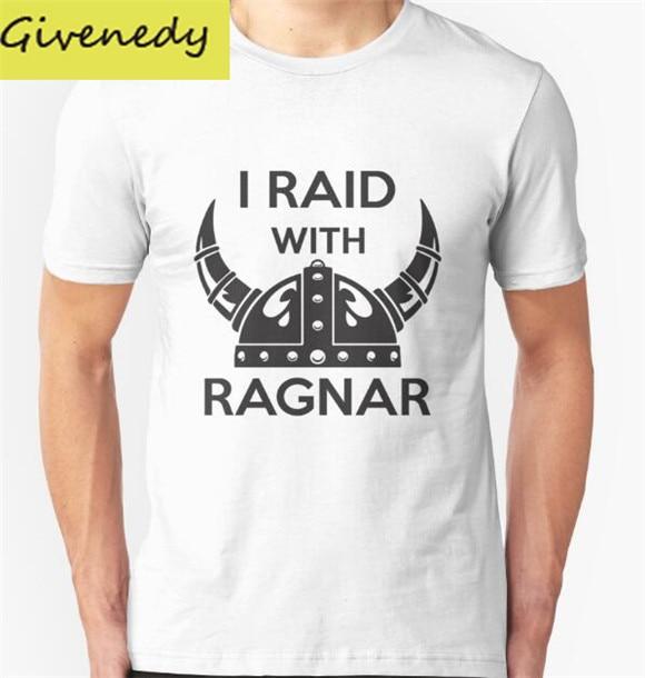 2016 New Arrival I raid with ragnar font b Men s b font Cotton T font