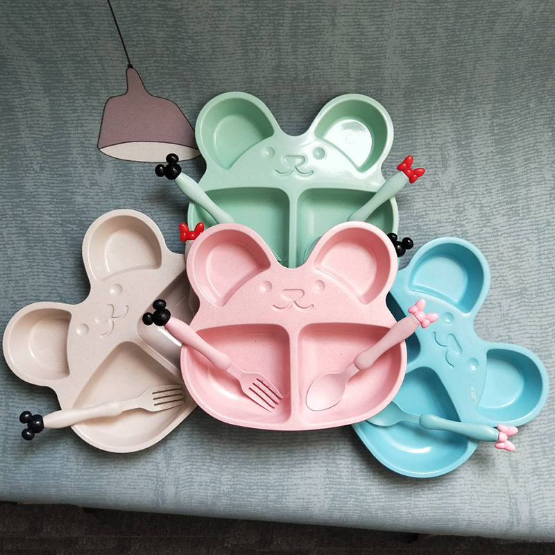 Wheat straw <font><b>kids</b></font> plates baby training bowl cute bear children tableware set baby dishes OPP Packaging image