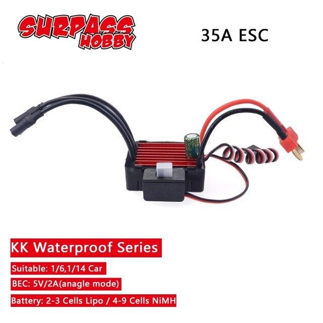 SURPASSHOBBY KK wodoodporny 35A ESC elektryczny regulator prędkości dla RC 1/16 1/14 RC Car 2838 2845 bezszczotkowy silnik