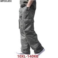 summer Men cargo cotton pants pocket large size big 8XL 10XL 9XL 140KG loose out door casual safari style pants black 46 48 50 Cargo Pants