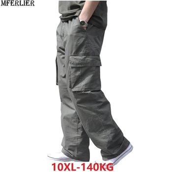 summer Men cargo cotton pants pocket large size big 8XL 10XL 9XL 140KG loose out door casual safari style pants black 46 48 50 Cargo Pants