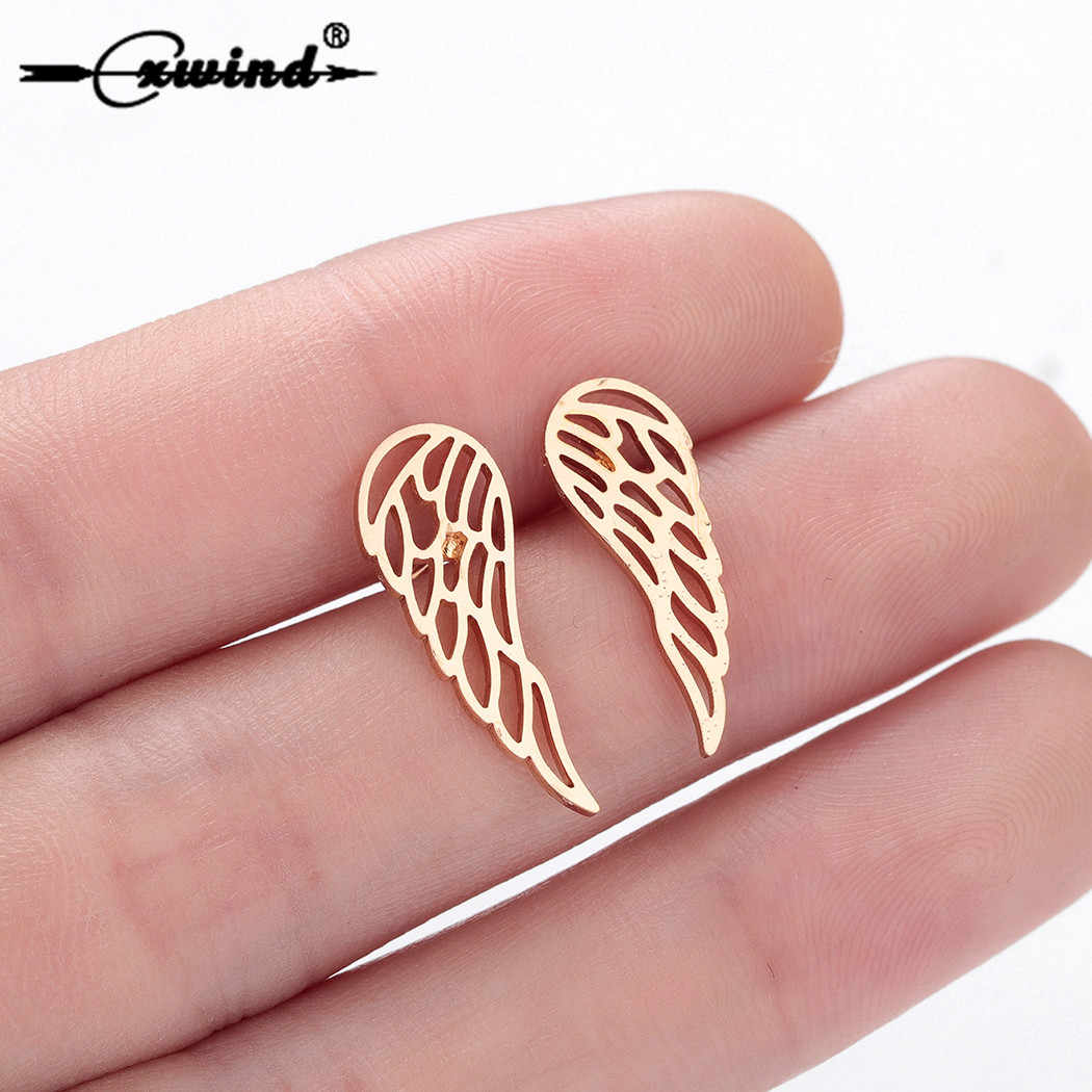 Cxwind Angel Wings Stud Earrings For Women Punk Heart Tree Owl Rabbit Animal Earings 2019 Female Ear Jewelry Brincos boho