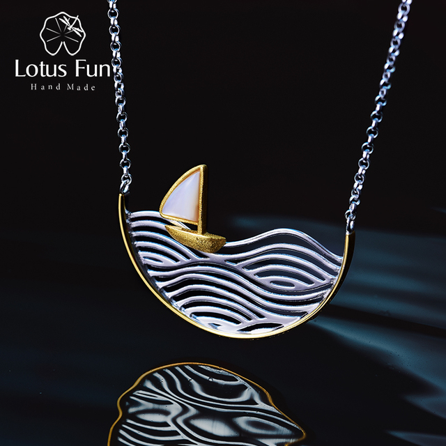Lotus Fun Real 925 Sterling Silver Handmade Designer Fine Jewelry Creative Gold Sailboat Necklace for Women Acessorio Collier