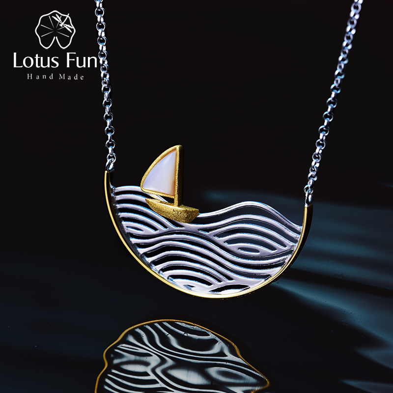 Lotus Fun Real 925 Sterling Silver Handmade Designer Fine Jewelry Creative Sailboat Necklace for Women Acessorio CollierLotus Fun Real 925 Sterling Silver Handmade Designer Fine Jewelry Creative Sailboat Necklace for Women Acessorio Collier