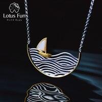 Lotus Fun Real 925 Sterling Silver Handmade Designer Fine Jewelry Creative Sailboat Necklace for Women Acessorio Collier