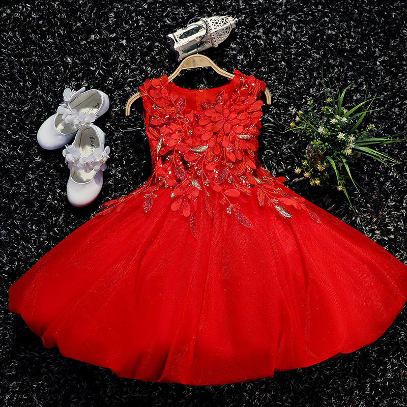 2-10Y Luxury Red Ball Gown Flower Girls Wedding Dresses Summer 2018 New Sleeveless Appliques Princess Girl Dresses Sequined D114 new summer sleeveless mini wedding