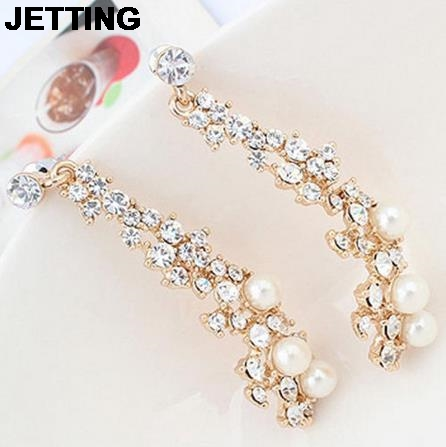 JETTING For Women Fashion Summer style Women Evening Fine Jewelery Brincos Full Crystal Pearls Gold Filled Long Drop Earrings