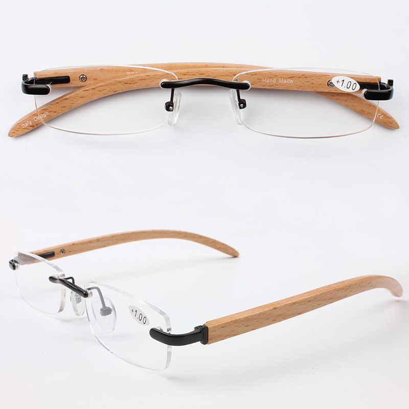 Chashma Brand Top Quality Slim New Alloy Frame Wood Arm Rimless Optical Fashion Eyeglasses Trend Reading Glasses +1.5