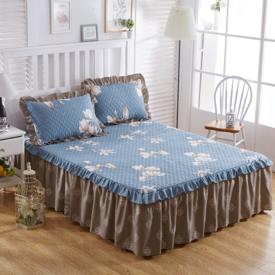 Bedsheet Thick Cotton Cover Bed Sheet Comforter Farmhouse Bedding Sets Housse De Couette Skirt For Pillowcase Cama Falda