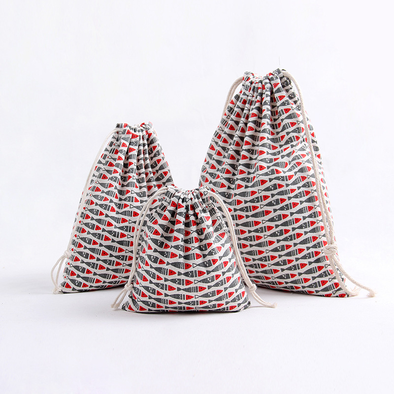 YILE 1pc Lucky Fish Cotton Linen Drawstring Party Gift Bag Multi-purpose Pouch Print Grey Red Fish 8129d