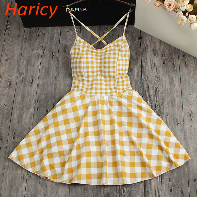2018 New female Swimwear Sexy Halter Skirt Swim Wear Women Yellow Plaid One Piece Swimsuit Beachwear Bandage Bathing Suit Dress