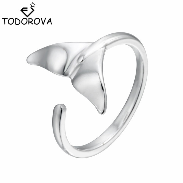 Todorova Cute 925 Sterling Silver Mermaid Tail Open Adjustable Jewelry Wedding R