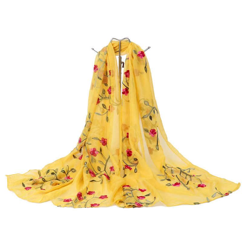 2019 Nova Moda Primavera/Verão Mulheres Bordados de Flores Lenço De Seda Xales Hijab Macio Feminino Wraps Praia Protetor Solar