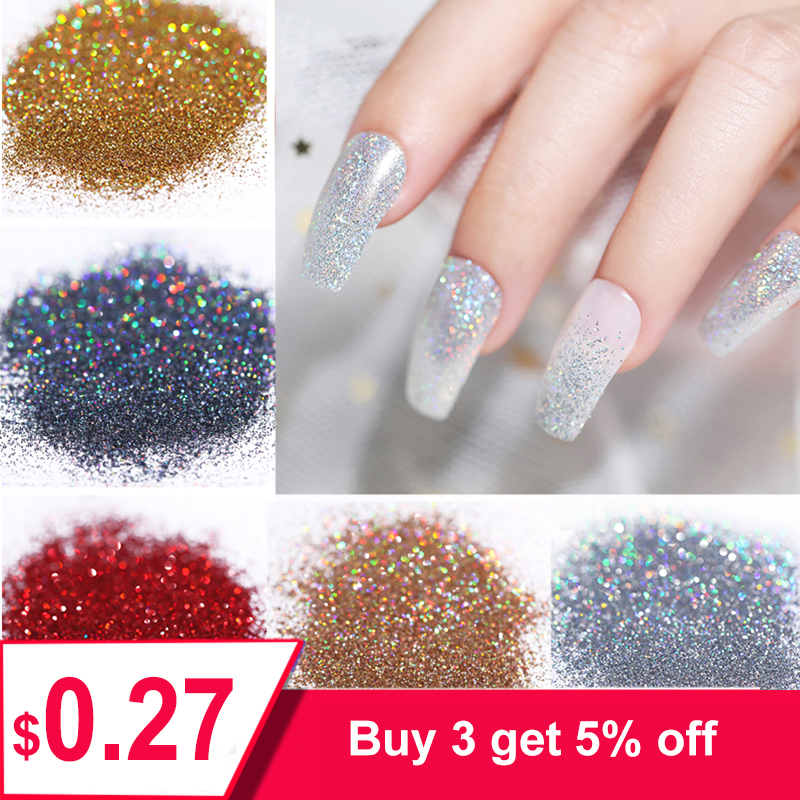 5g Shiny Nail Powder Nail Art Glitter Shimmer Chrome Pigment Dust Holographic DIY Manicure Nail Art Accessories Design(China)