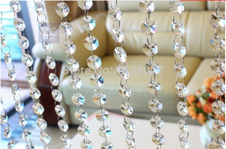 Free Shipping 240piece /DIY lighting accessories beaded curtain crystal beads 14MM transparent white octagonal two holes