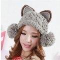 2017 women hats Autumn winter Korean version fashion cat devil horns ear knitted wool beanie Skullies with big wool ball earflap